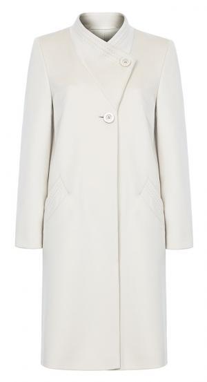Прямое пальто из шерсти с ассиметричным воротником-стойкой Элема