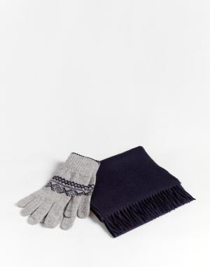 Glen Lossie Комплект из шарфа и перчаток. Цвет: синий