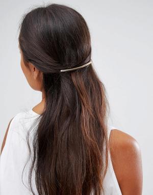 ASOS Расческа для волос с металлической планкой. Цвет: золотой