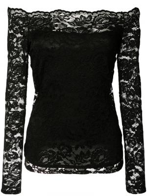 Кружевная блузка с открытыми плечами Lagence L'agence. Цвет: чёрный