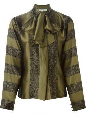 Блузка с комбинированным принтом и завязкой на бант Jean Louis Scherrer Vintage. Цвет: зелёный
