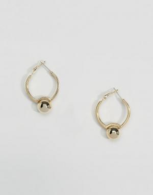 DesignB London Серьги-кольца с шариками. Цвет: золотой