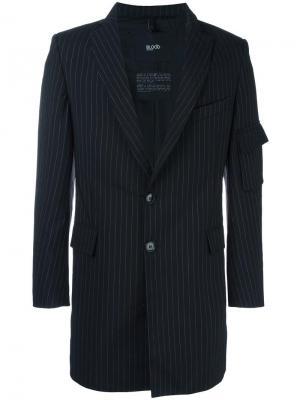 Полосатый пиджак с отделкой молнией Blood Brother. Цвет: чёрный