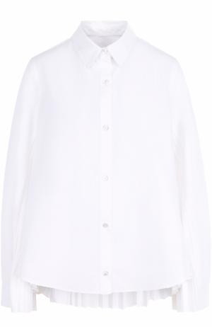 Хлопковая блуза с плиссированными вставками Clu. Цвет: белый