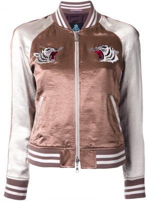 Куртка-бомбер с контрастными рукавами Guild Prime. Цвет: коричневый