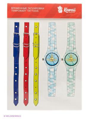 Набор временных тату №22 Kawaii Factory. Цвет: голубой, желтый, зеленый, красный