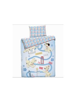 Комплект постельного белья ясли Долматинец с дорожками Disney. Цвет: голубой