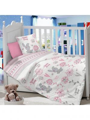 Комплект постельного белья в детскую кроватку из сатина (простыня на резинке) Ивбэби. Цвет: светло-серый, белый, розовый