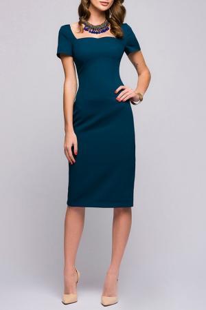 Полуприлегающее платье с короткими рукавами ANASTASIA KOVALL. Цвет: бирюзовый