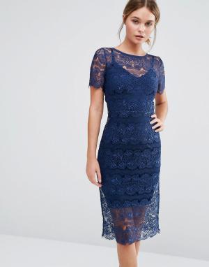 Body Frock Кружевное платье с моделирующим эффектом Lisa. Цвет: темно-синий