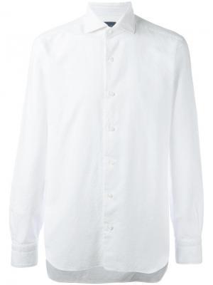 Рубашка с жаккардовым эффектом Barba. Цвет: белый