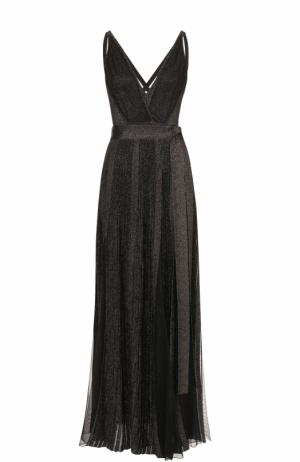 Платье-макси с высокими разрезами и металлизированной отделкой Elie Saab. Цвет: черный
