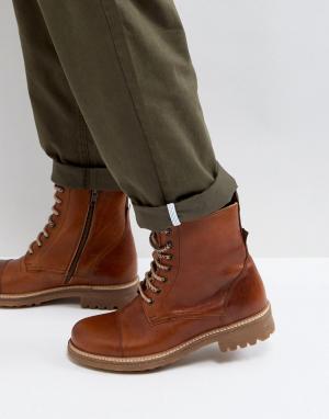 Zign Кожаные ботинки на шнуровке. Цвет: коричневый