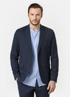 Пиджак из хлопковой ткани OSTIN. Цвет: темно-синий