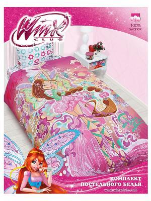 Комплект постельного белья Winx Flora. Цвет: розовый, фуксия