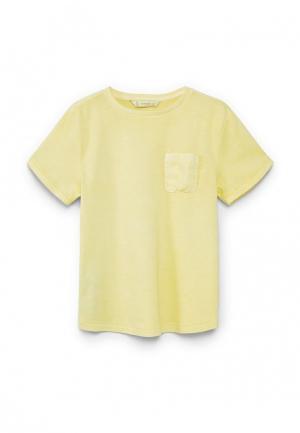 Футболка Mango Kids. Цвет: желтый
