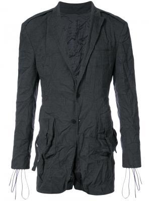 Пиджак с мятым эффектом D.Gnak. Цвет: серый
