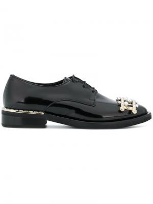 Декорированные туфли со шнуровкой Coliac. Цвет: чёрный