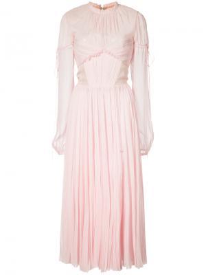 Шифоновое плиссированное платье J. Mendel. Цвет: розовый и фиолетовый