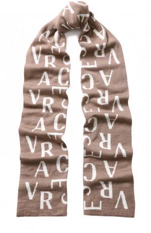 Шерстяной шарф с принтом Versace. Цвет: светло-коричневый