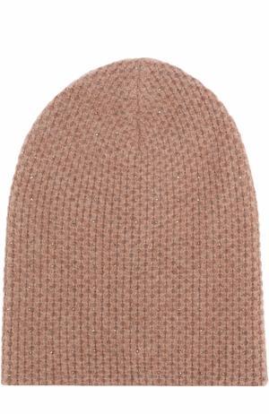 Кашемировая вязаная шапка с отделкой из страз Swarovski William Sharp. Цвет: коричневый