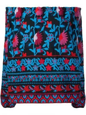 Блузка с цветочной вышивкой Tanya Taylor. Цвет: чёрный