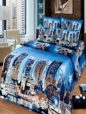 Комплект постельного белья из тк.Сатин в упаковке книжка Мегаполис Арт Постель. Цвет: синий