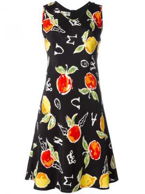 Платье с рисунком в виде яблок Jc De Castelbajac Vintage. Цвет: чёрный