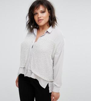 Elvi Декорированная рубашка Premium. Цвет: белый