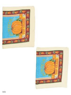 Набор кухонных полотенец - 2шт. (38*64) Dorothy's Нome. Цвет: коричневый, оранжевый, желтый, голубой