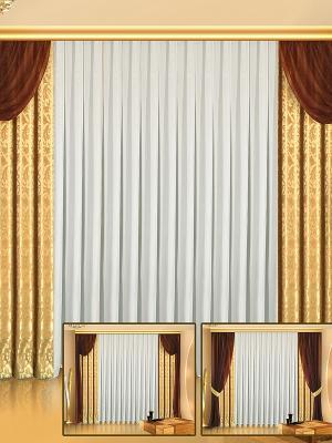Комплект штор ZLATA KORUNKA. Цвет: золотистый, коричневый