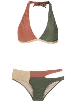 Бархатистое бикини с вырезными деталями Adriana Degreas. Цвет: коричневый