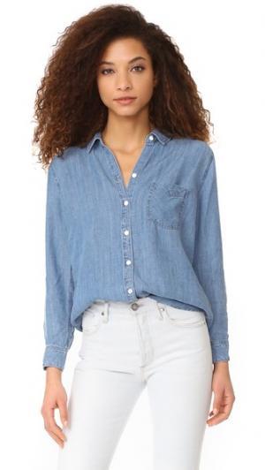 Рубашка на пуговицах Ingrid RAILS. Цвет: голубой