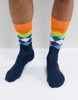 Happy Socks Носки в ромбик. Цвет: мульти