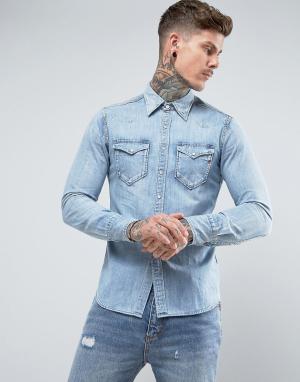 Replay Светлая джинсовая рубашка в стиле вестерн. Цвет: синий