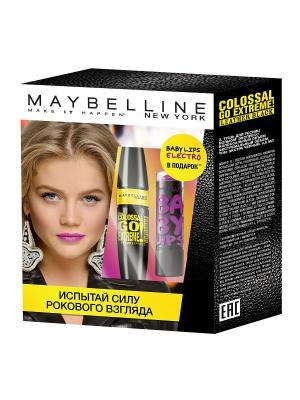 Набор Тушь для ресниц Colossal Go Extreme Leather Black + Бальзам губ Baby Lips Maybelline New York. Цвет: черный, сиреневый