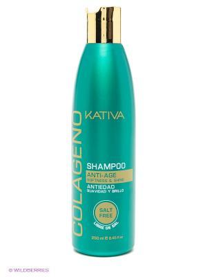 Коллагеновый шампунь KATIVA для всех типов волос COLAGENO, 250 мл. Цвет: бирюзовый