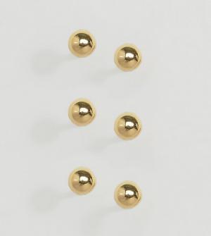 ASOS 3 пары серебряных шарообразных серег-гвоздиков с позолотой. Цвет: золотой