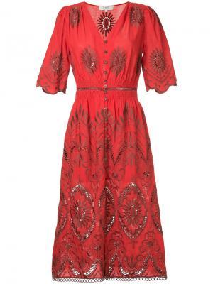 Платье с вырезными деталями и вышивкой Sea. Цвет: красный