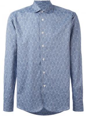 Рубашка с вышивкой Al Duca D'Aosta 1902. Цвет: синий