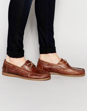 ASOS Светло-коричневые кожаные мокасины. Цвет: рыжий