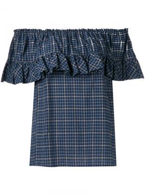 Блузка с оборкой Hache. Цвет: синий