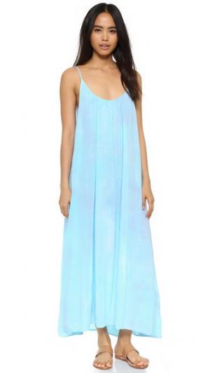 Пляжное платье Tulum, окрашенное в стиле узелкового батика 9seed. Цвет: мечты об ибице