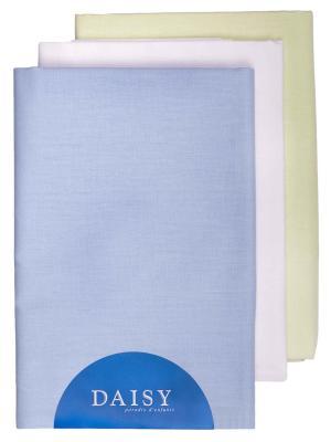 Пеленка Хлопок голубая 3 шт. DAISY. Цвет: голубой, белый, салатовый