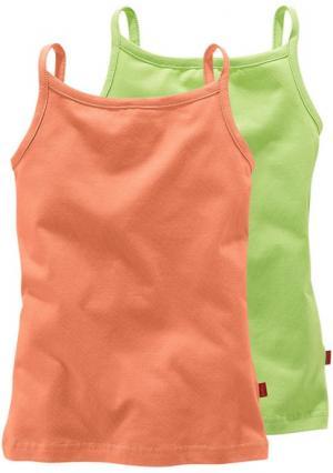 Топ, 2 штуки Colors for Life. Цвет: оранжевый/зеленый