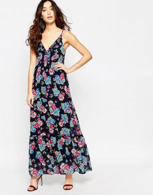 Iska Платье макси с цветочным принтом. Цвет: черный