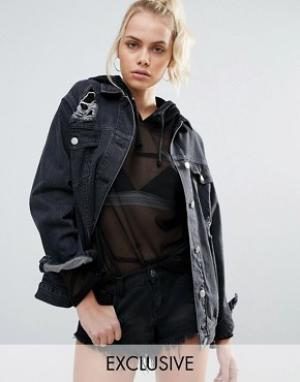 Chorus Джинсовая oversize-куртка с потертостями. Цвет: черный