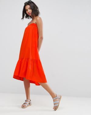 ASOS Хлопковое платье-бандо. Цвет: красный