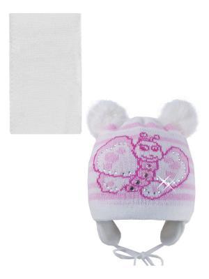 Шапка, шарф Pro-han. Цвет: белый, бледно-розовый