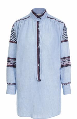 Блуза прямого кроя с контрастной вышивкой Zadig&Voltaire. Цвет: голубой